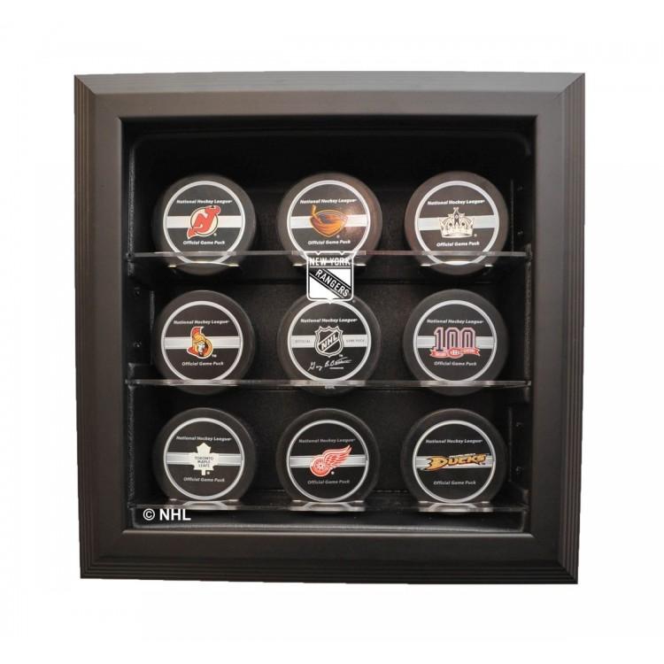 New York Rangers 9 Puck Cabinet Style Display, Black