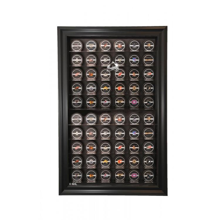 Colorado Avalanche 60 Puck Cabinet Style Display, Black