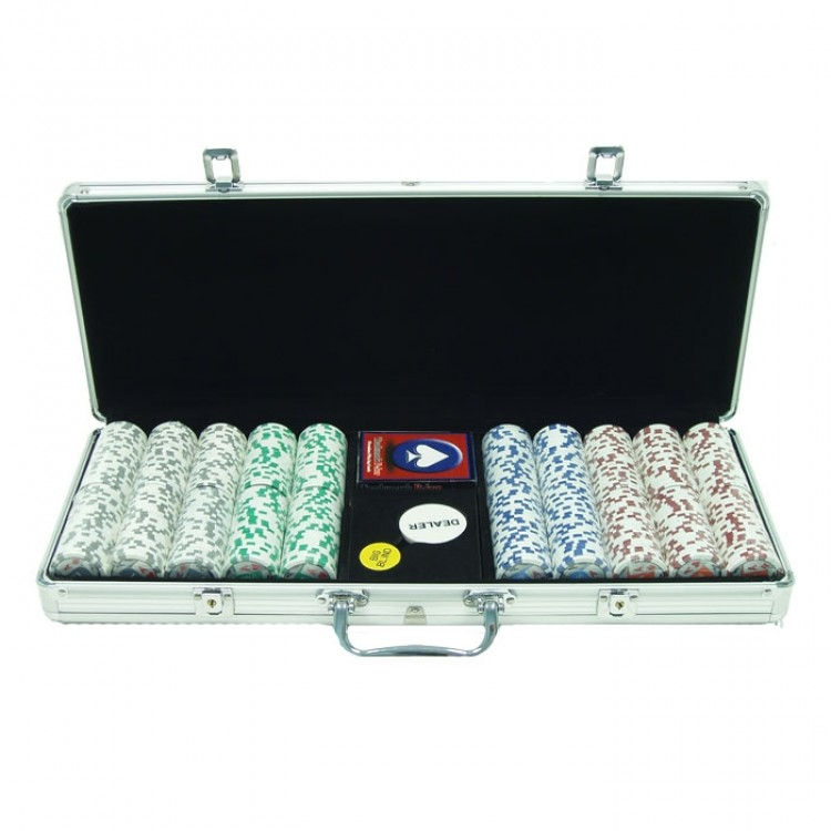 500 11.5g 4 Aces Poker Chip Set w/Aluminum Case