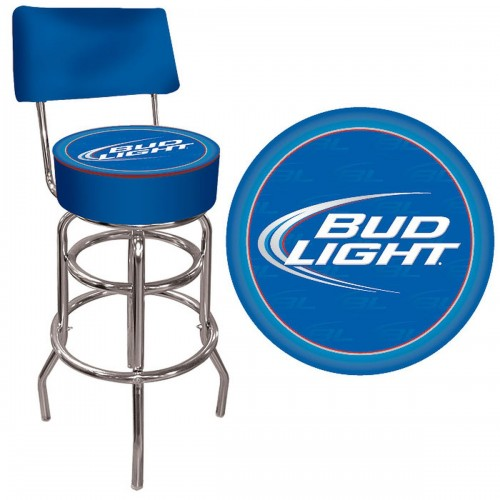 Bud Light Blue Padded Bar Stool with Back - Bud Light Man Cave Gear Shop