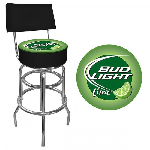 Bud Light Lime Padded Bar Stool with Back - Bud Light Man Cave Gear Shop