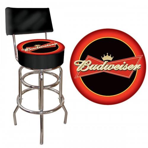Budweiser Bowtie RedBlack Padded Bar Stool with Back