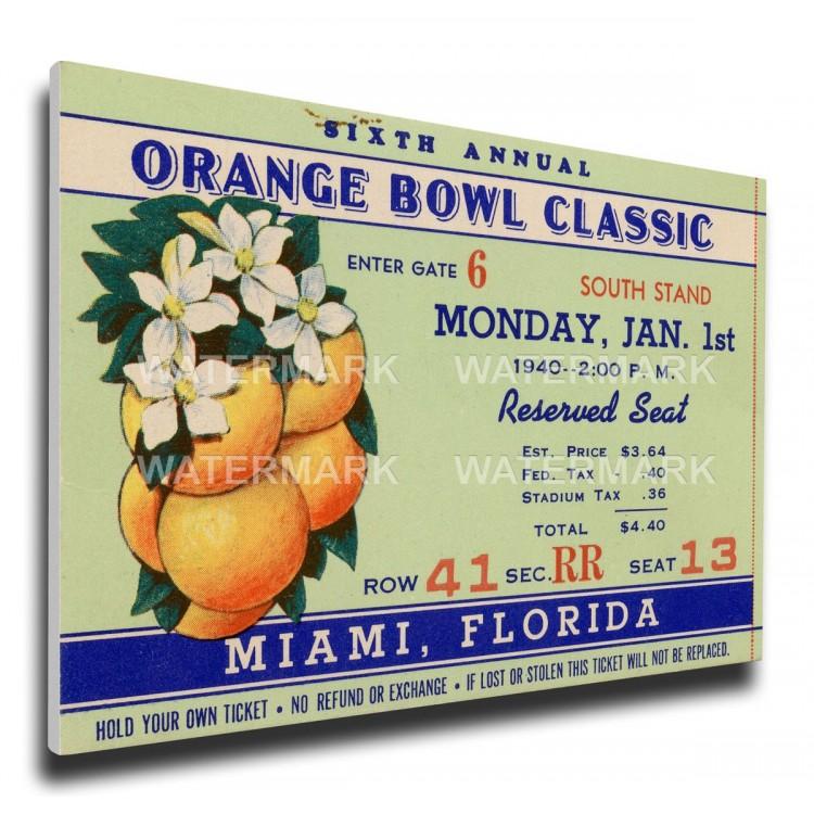 1940 Orange Bowl Canvas Mega Ticket - Georgia Tech