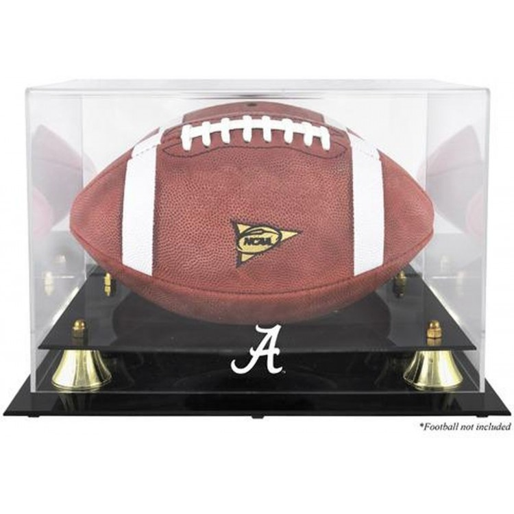 Alabama Crimson Tide Golden Classic Football Display Case with Mirror Back