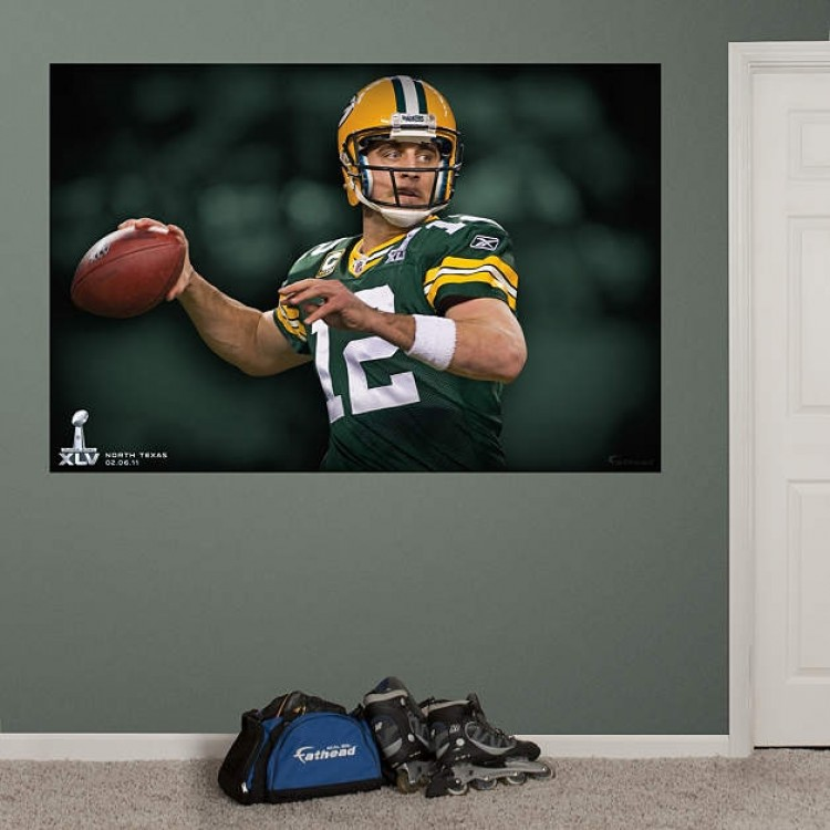 Aaron Rodgers Super Bowl Mural REAL.BIG. Fathead