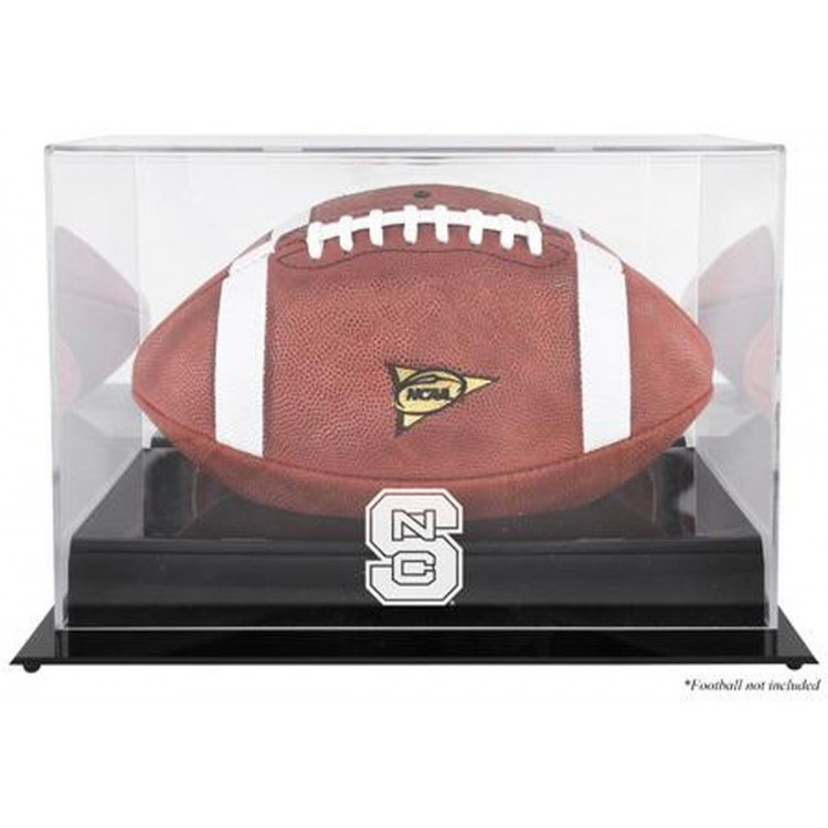 North Carolina State Wolfpack Black Base Team Logo Football Display Case with Mirror Back