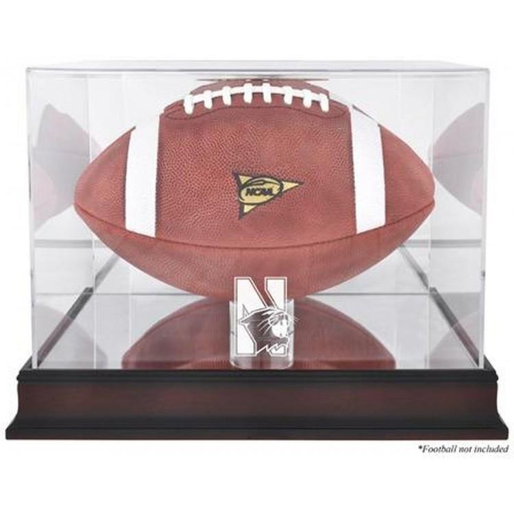 Northwestern Wildcats Mahogany Base Logo Football Display Case with Mirror Back