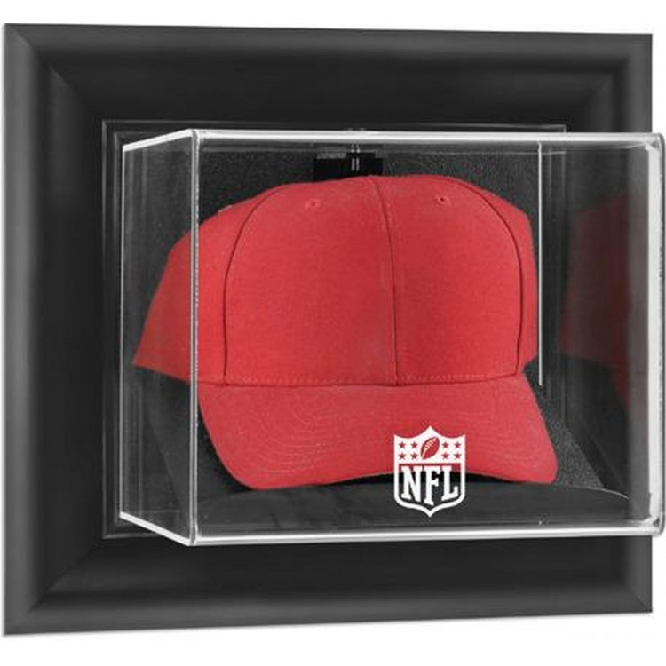 NFL Black Framed Wall-Mountable Cap Logo Display Case
