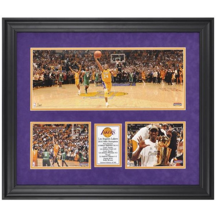 """Los Angeles Lakers 2010 NBA Champions Framed Mini Panoramic with Two 6"""" x 8"""" Photos"""