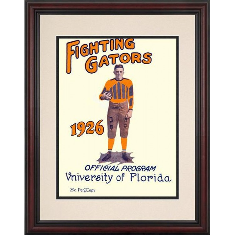 1926 Florida Gators Program 8.5'' x 11'' Framed Historic Football Poster