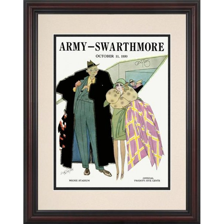 1930 Army Black Knights vs Swarthmore 8.5'' x 11'' Framed Historic Football Poster