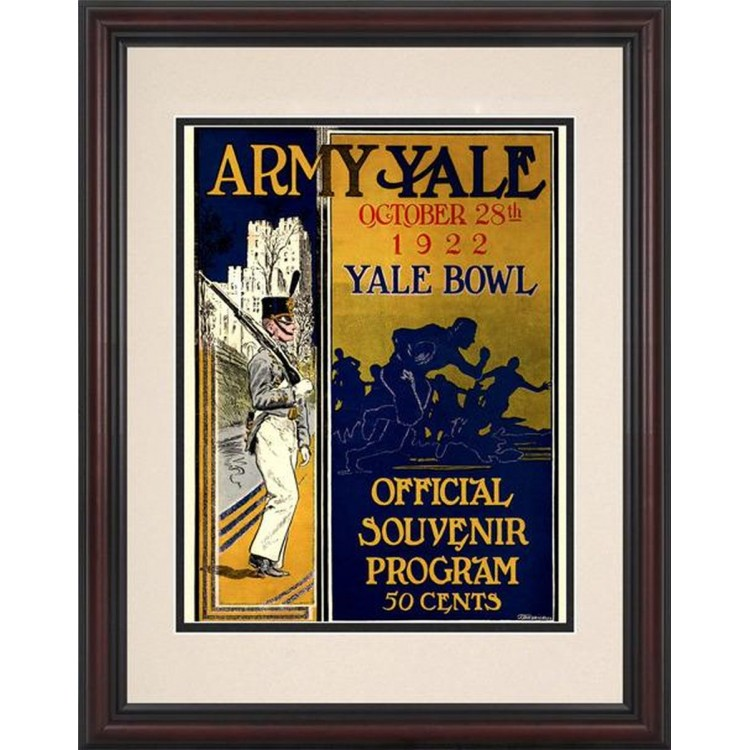 1922 Yale Bulldogs vs Army Black Knights 8.5'' x 11'' Framed Historic Football Poster