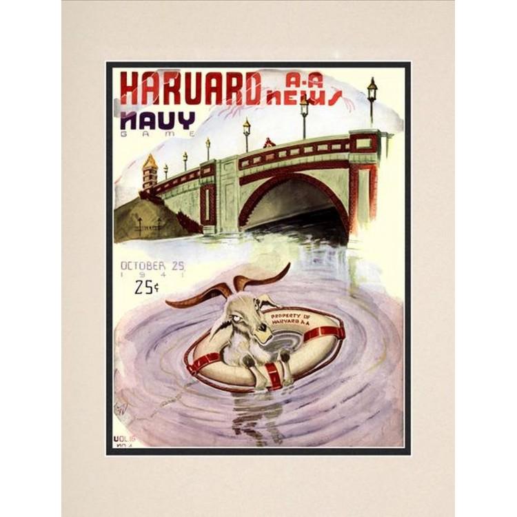 1941 Harvard Crimson vs Navy Midshipmen 10 1/2 x 14 Matted Historic Football Poster
