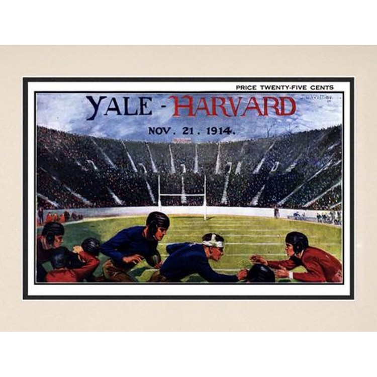 1914 Yale Bulldogs vs Harvard Crimson 10 1/2 x 14 Matted Historic Football Poster