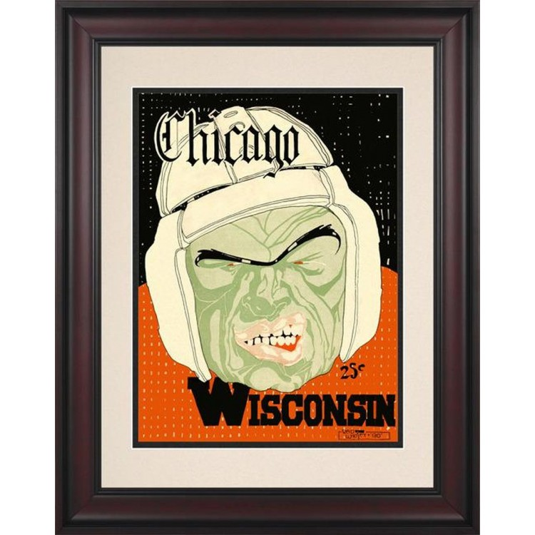 1928 Wisconsin Badgers vs Chicago Maroons 10 1/2 x 14 Framed Historic Football Poster