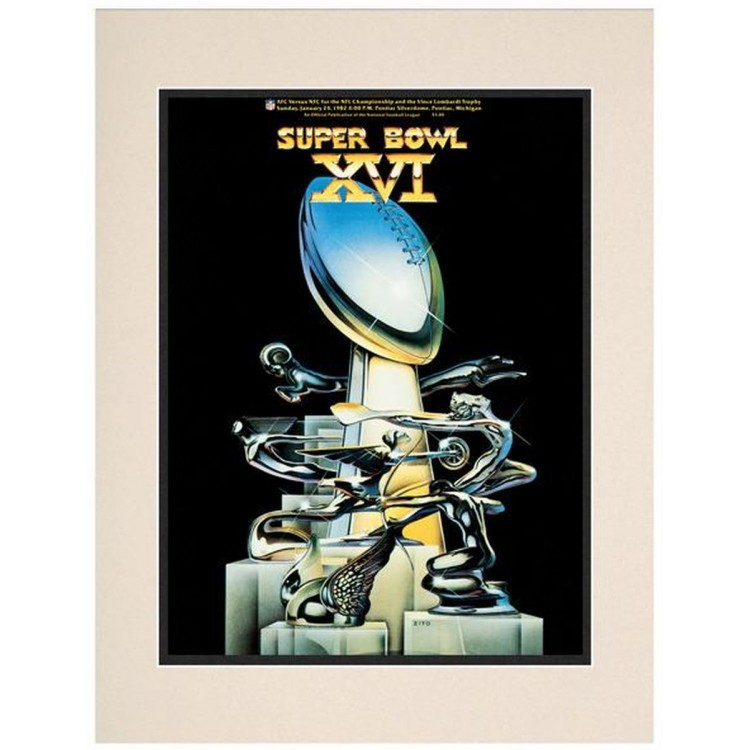 "1982 49ers vs Bengals 10.5"" x 14"" Matted Super Bowl XVI Program"