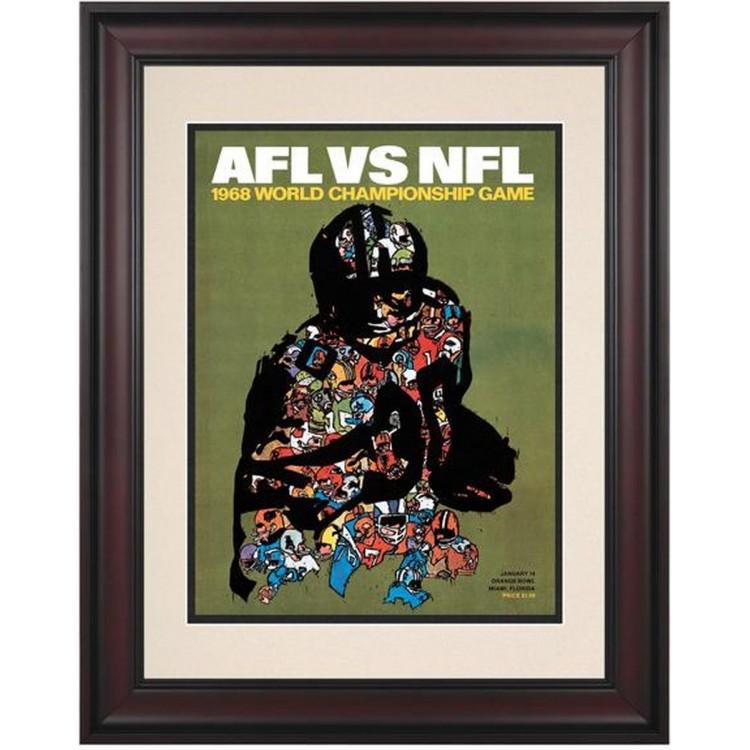 "1968 Packers vs Raiders 10.5"" x 14"" Framed  Super Bowl II Program"
