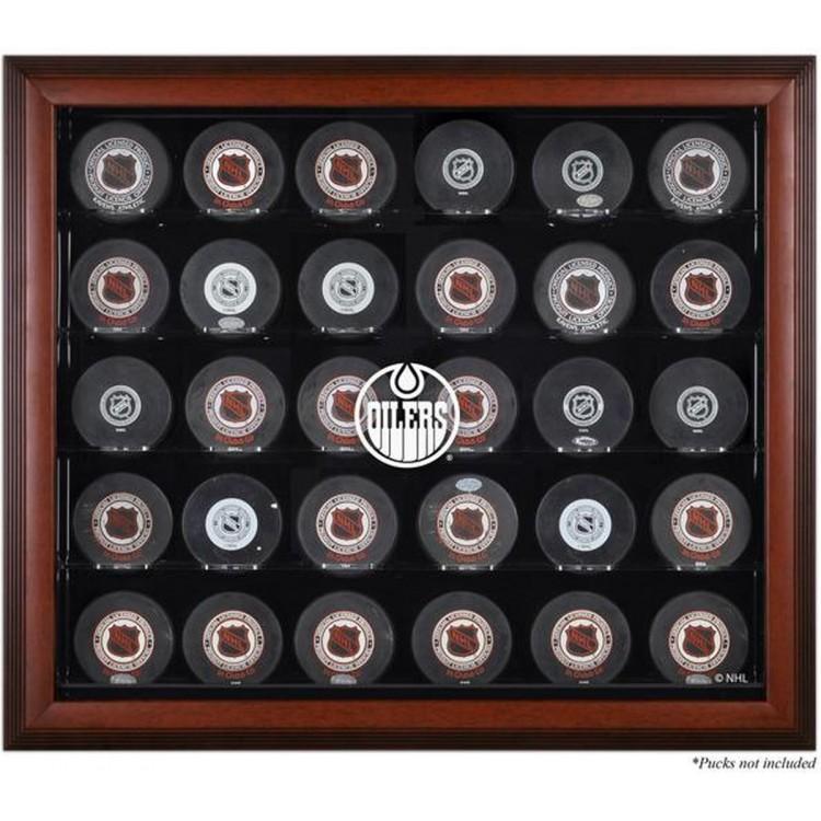 Edmonton Oilers 30-Puck Mahogany Display Case