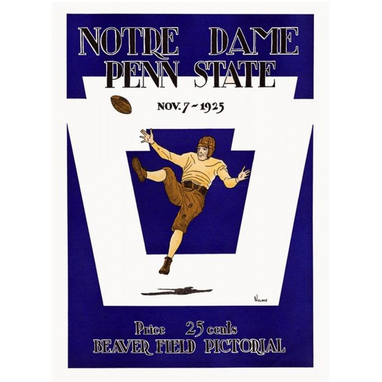 1925 Penn State Nittany Lions vs Notre Dame Fighting Irish 36x48 Canvas Historic Football Poster
