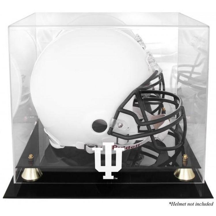 Indiana Hoosiers Golden Classic Logo Helmet Display Case with Mirrored Back