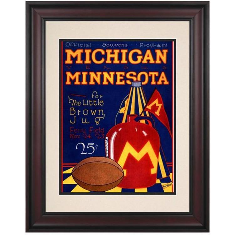 1923 Michigan Wolverines vs Minnesota Golden Gophers 10 1/2 x 14 Framed Historic Football Print