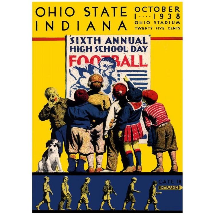 1938 Ohio State Buckeyes vs Indiana Hoosiers 22x30 Canvas Historic Football Print