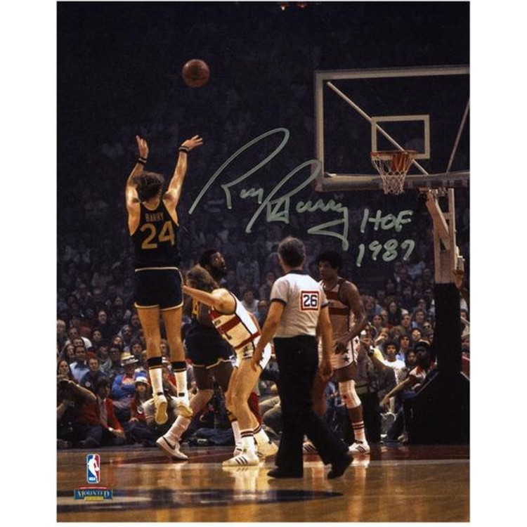"""Rick Barry Golden State Warriors Autographed 8"""" x 10"""" Back Jump Shot Photograph with HOF 1987"""