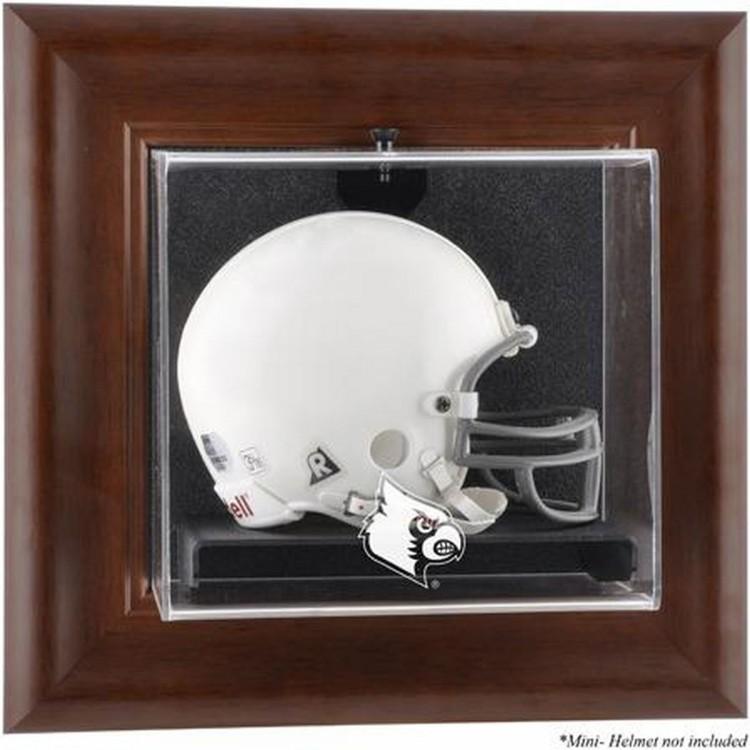 Louisville Cardinals Brown Framed Logo Wall-Mountable Mini Helmet Display Case