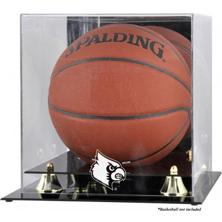 Louisville Cardinals Golden Classic Logo Basketball Display Case with Mirror Back
