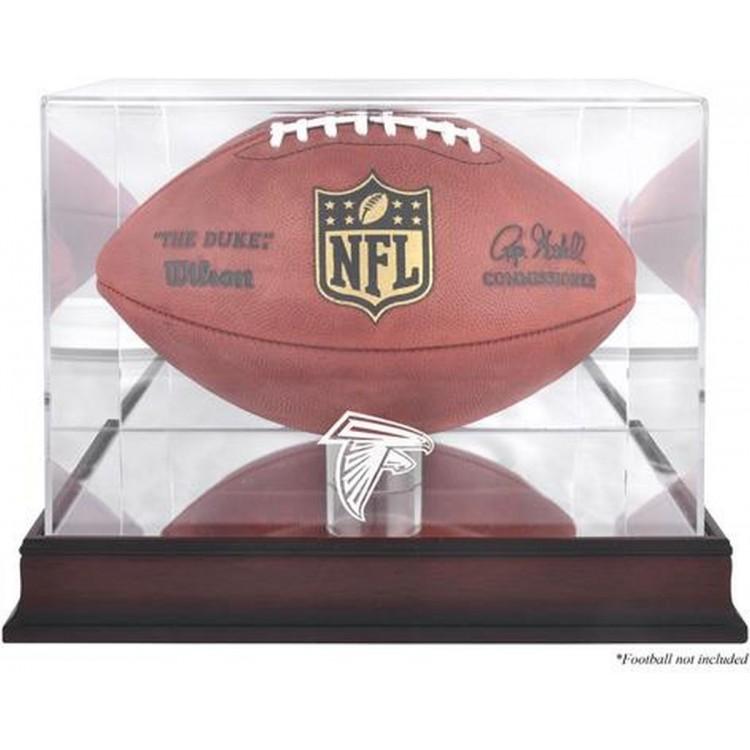 Atlanta Falcons Mahogany Football Logo Display Case with Mirror Back