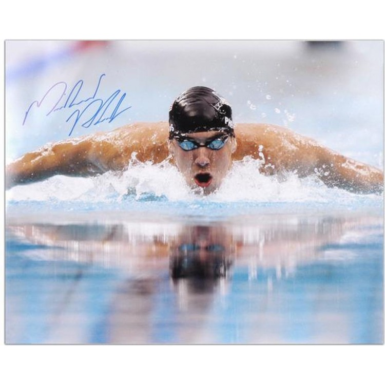 """Michael Phelps Autographed 16"""" x 20"""" Swimming Photograph"""