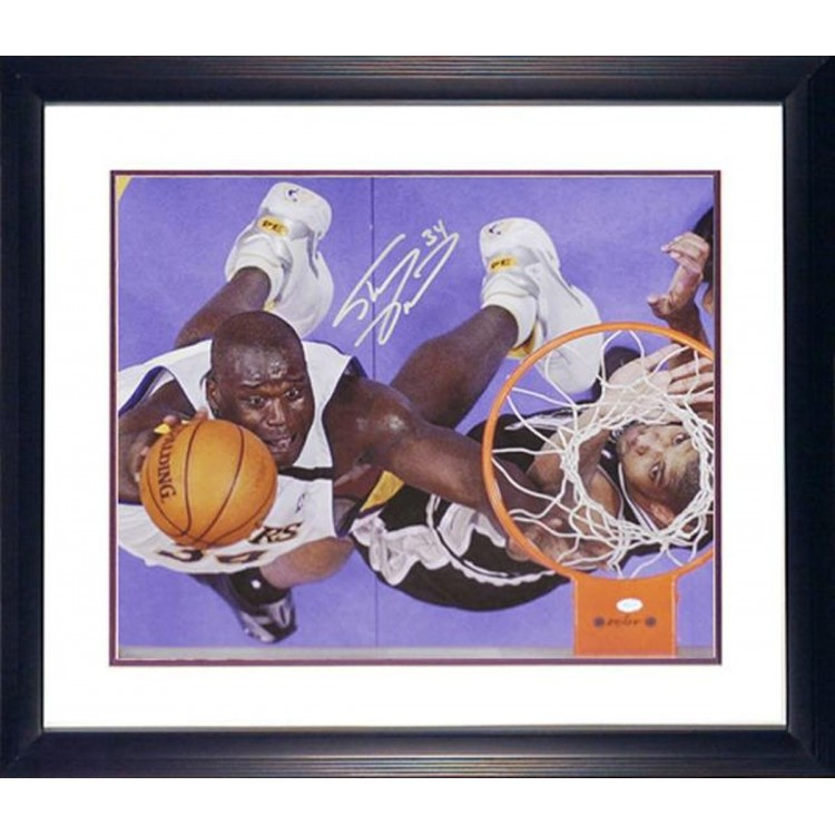 """Shaquille O'Neal Los Angeles Lakers Framed Autographed 16"""" x 20"""" Photograph with Tim Duncan"""
