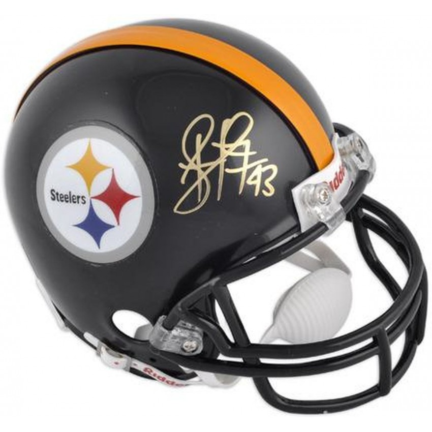 more photos dd2f2 e72c3 Troy Polamalu Pittsburgh Steelers Autographed Riddell Mini Helmet