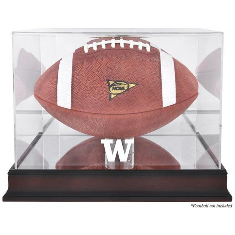 Washington Huskies Mahogany Base Logo Football Display Case with Mirror Back