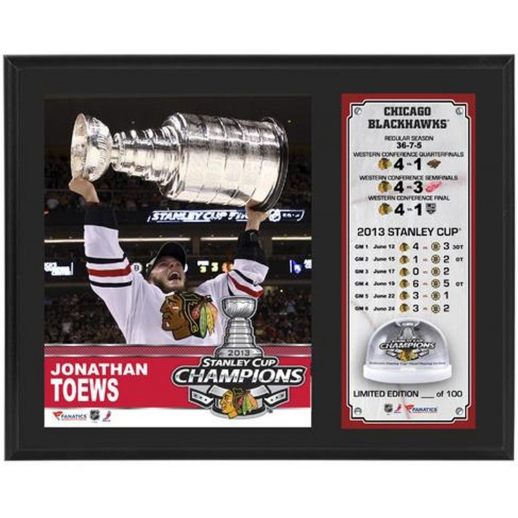 """Jonathan Toews Chicago Blackhawks 2013 Stanley Cup Champions Sublimated 12"""" x 15"""" Plaque with Stanley-Cup Ice"""