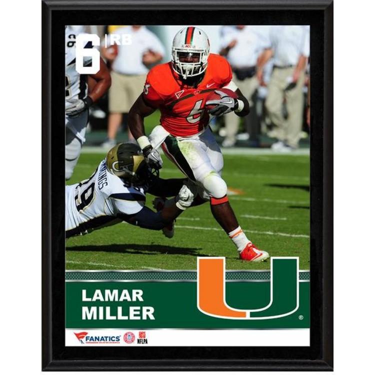"""Lamar Miller Miami Hurricanes Sublimated 10.5"""" x 13"""" Plaque"""