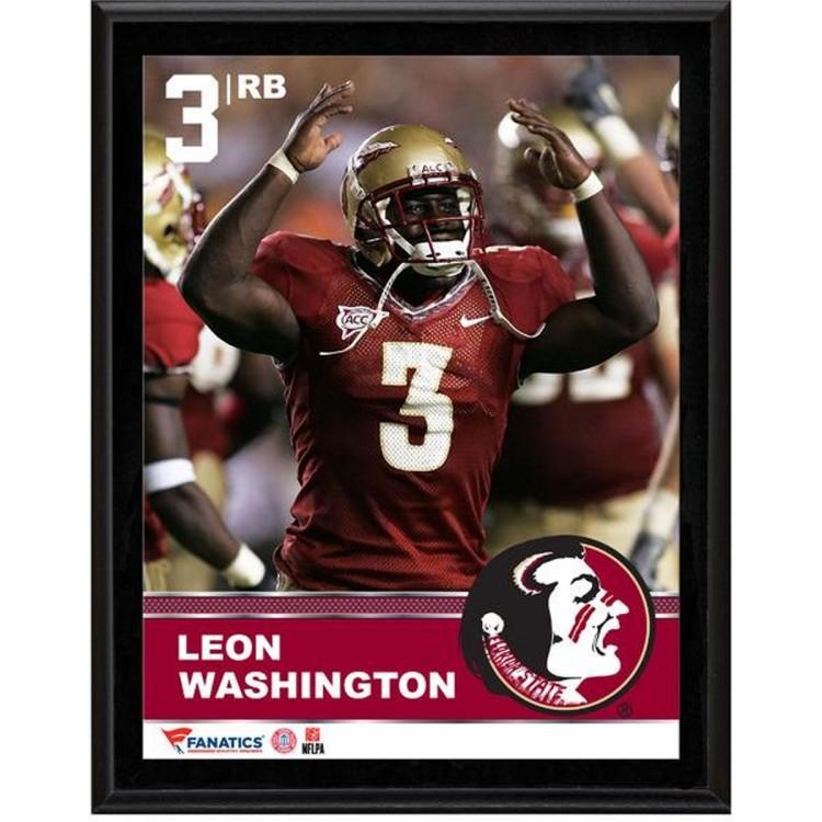 "Leon Washington Florida State Seminoles Sublimated 10.5"" x 13"" Plaque"