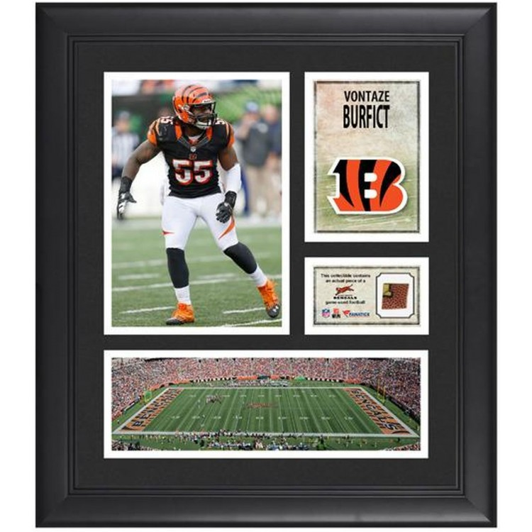 """Vontaze Burfict Cincinnati Bengals Framed 15"""" x 17"""" Collage with Game-Used Football"""