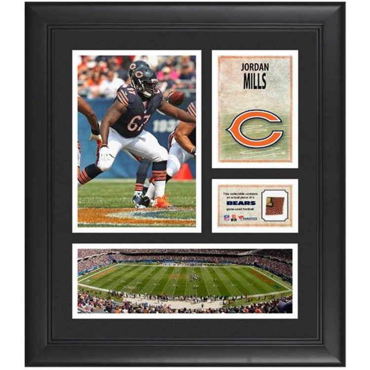 "Jordan Mills Chicago Bears Framed 15"" x 17"" Collage with Game-Used Football"