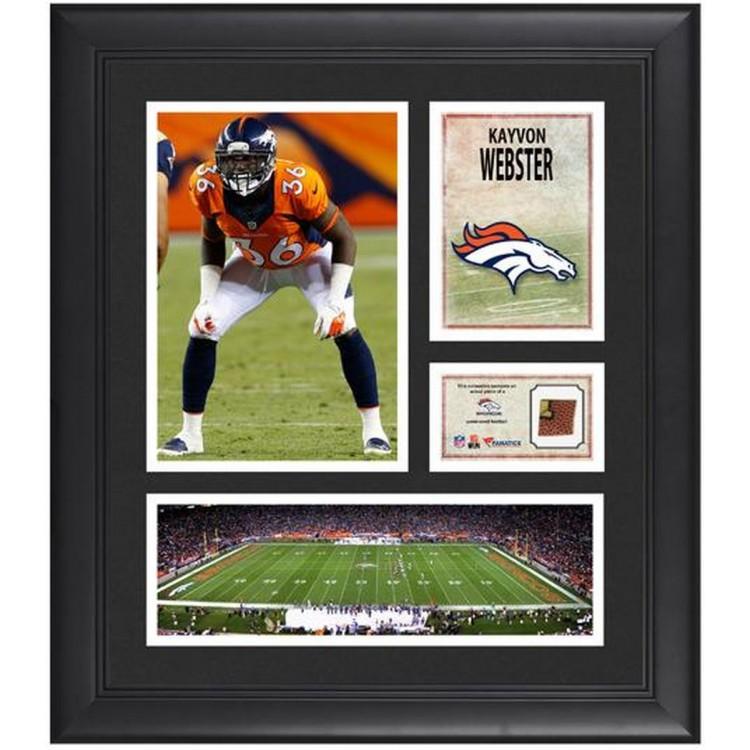"""Kayvon Webster Denver Broncos Framed 15"""" x 17"""" Collage with Game-Used Football"""