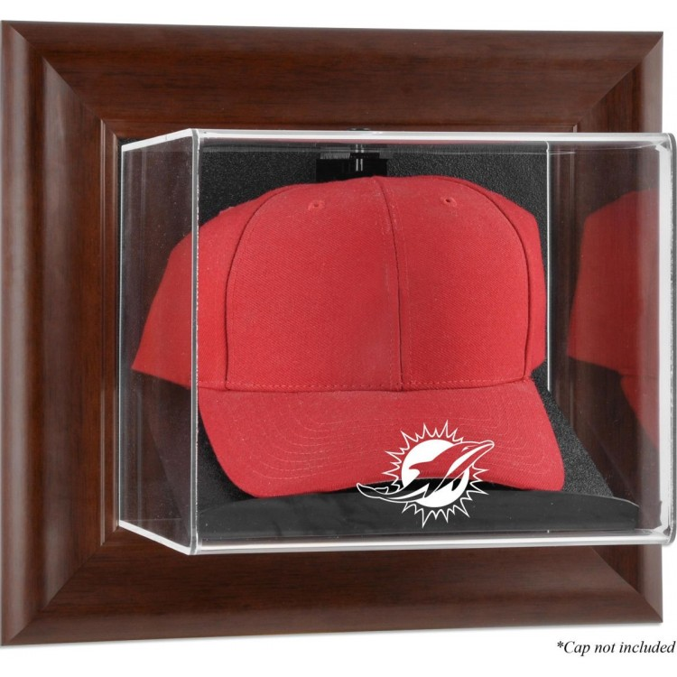 Miami Dolphins Brown Framed Wall-Mountable Cap Case