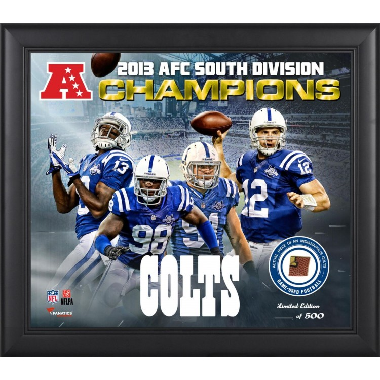 "Indianapolis Colts 2013 AFC South Champs Framed 15"" x  17"" Collage with Game-Used Football - Limited Edition of 500"