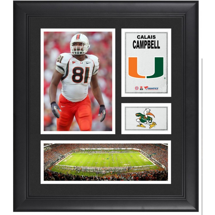 "Calais Campbell Miami Hurricanes Framed 15"" x 17"" Collage"
