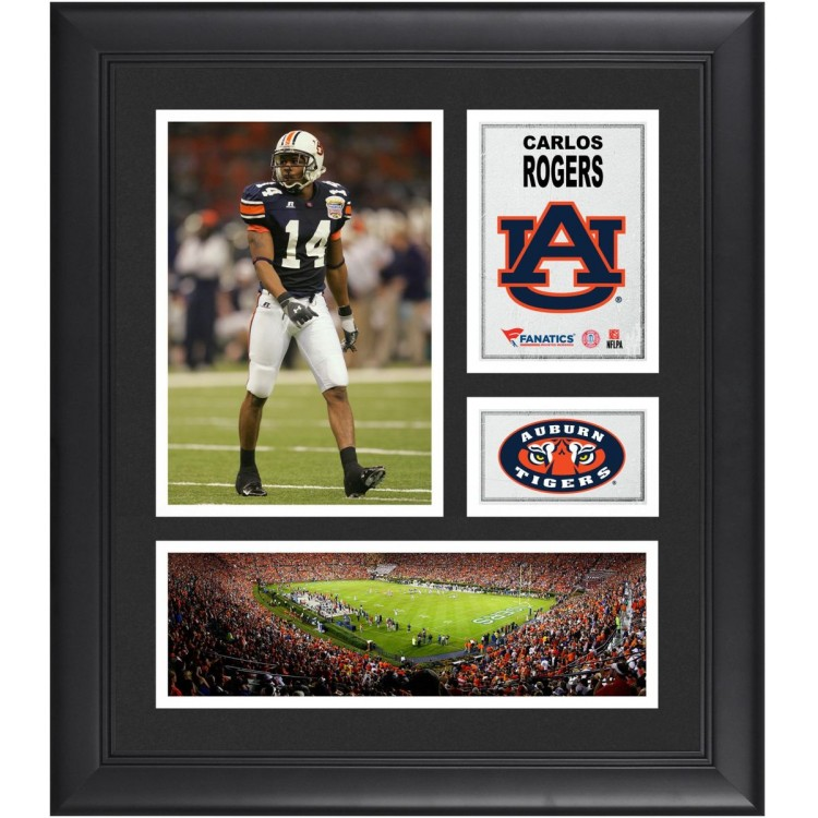 "Carlos Rogers Auburn Tigers Framed 15"" x 17"" Collage"