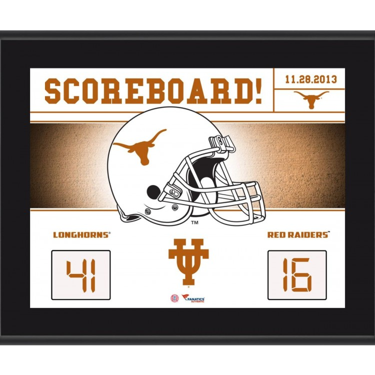 "Texas Longhorns Win Over Texas Tech Red Raiders Sublimated 10.5"" x 13"" Scoreboard Plaque"