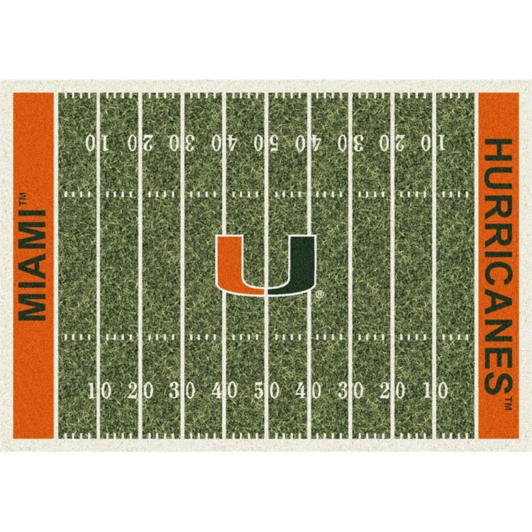"""Miami 5'4""""x7'8"""" College Home Field Area Rug"""