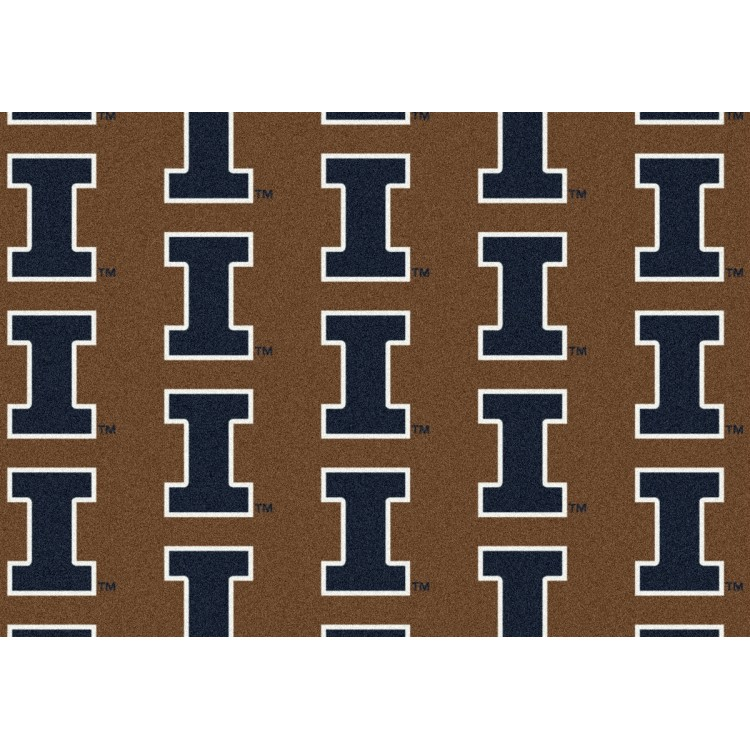 "Illinois 10'9""x13'2"" College Repeating Area Rug"