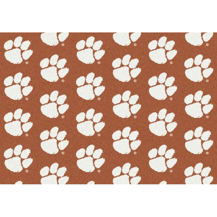 """Clemson Tigers 5'4""""x7'8"""" College Repeating Area Rug"""