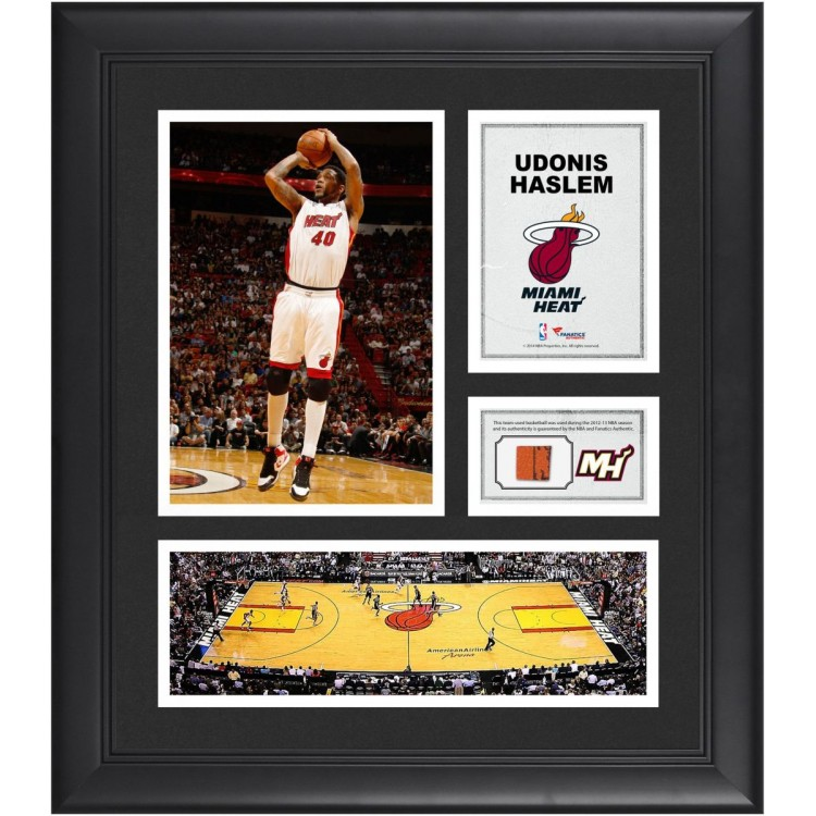 """Udonis Haslem Miami Heat Framed 15"""" x 17"""" Collage with Team-Used Ball"""