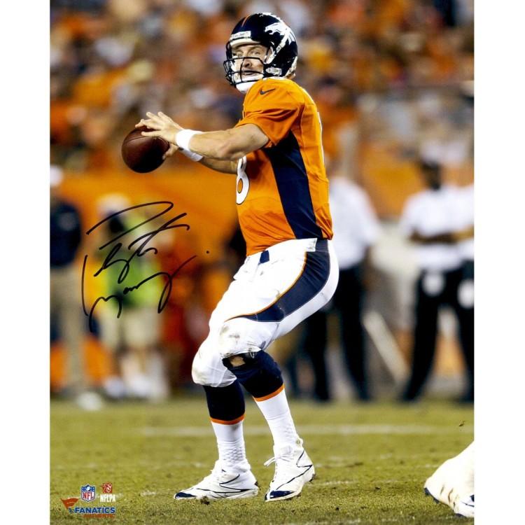 "Peyton Manning Denver Broncos Autographed 16"" x 20"" Vertical Orange Uniform Throw Photograph"